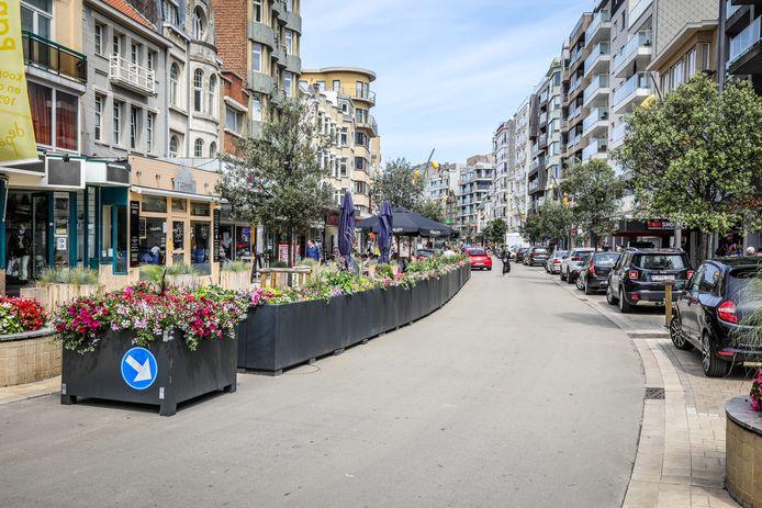 Deze bloembakken verdwijnen weldra van de openbare weg, zodat in dat stuk Zeelaan opnieuw in twee richtingen gereden kan worden.