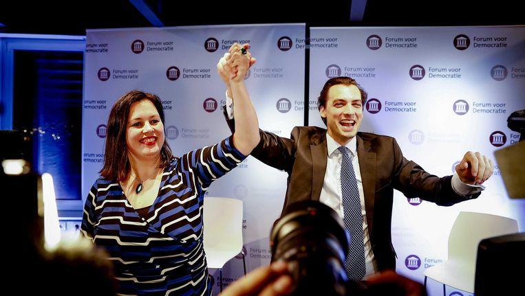 Thierry Baudet en Annabel Nanninga van Forum voor Democratie tijdens de uitslagenavond van de gemeenteraadsverkiezingen Beeld ANP