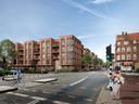 Een impressie van de bouwplannen van Burgland Real Estate op het Vogelzangterrein in Eindhoven met op de voorgrond de Willemstraat.