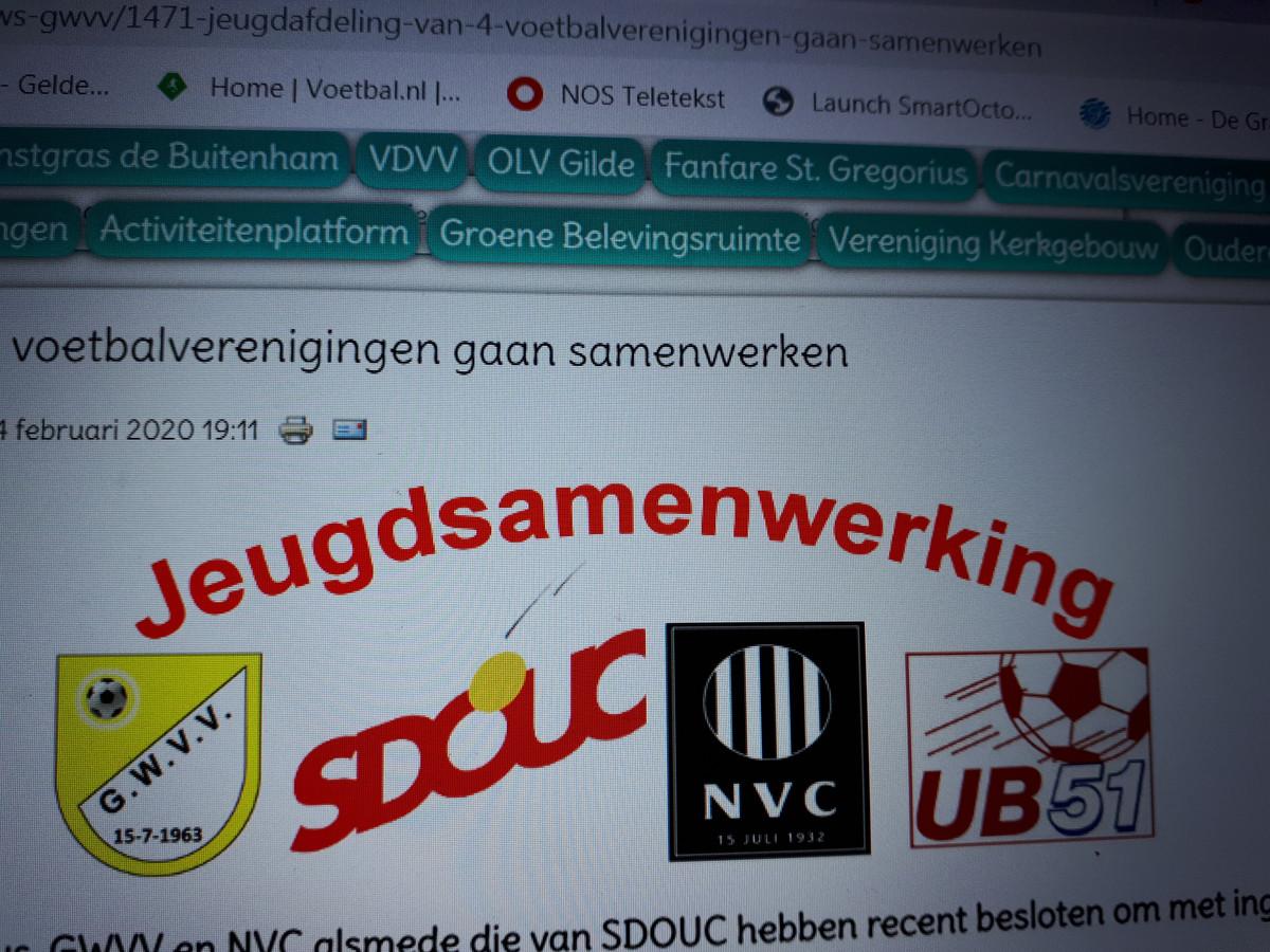 Ulftse Boys, SDOUC, GWVV en NVC hebben volgend seizoen gezamenlijk één jeugdafdeling.