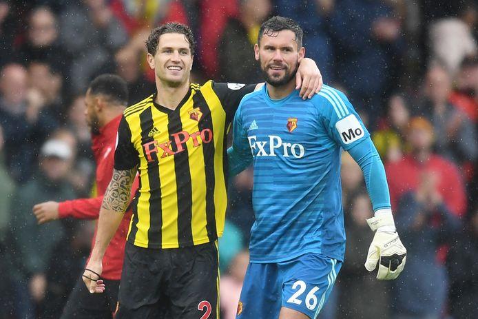 Daryl Janmaat viert de zege van Watford op Crystal Palace met keeper Ben Foster.