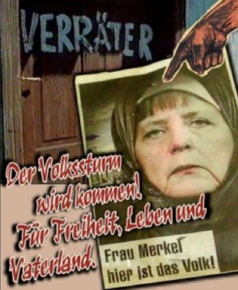 Spotprent over Angela Merkel. Beeld null