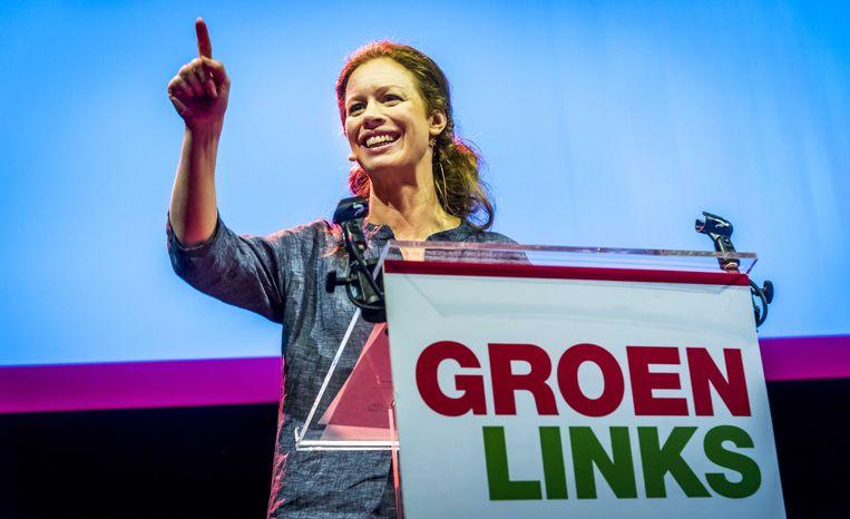 Partijvoorzitter Marjolein Meijer tijdens haar speech op het congres van GroenLinks in aanloop naar de gemeenteraadsverkiezingen. Beeld ANP