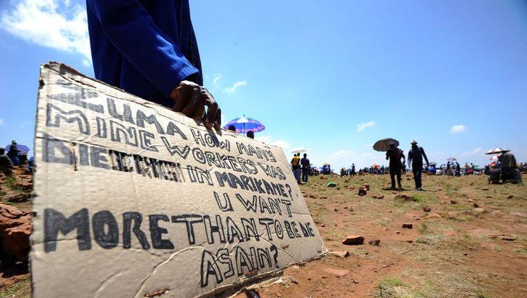Stakende mijnwerkers in oktober vorig jaar Beeld ANP