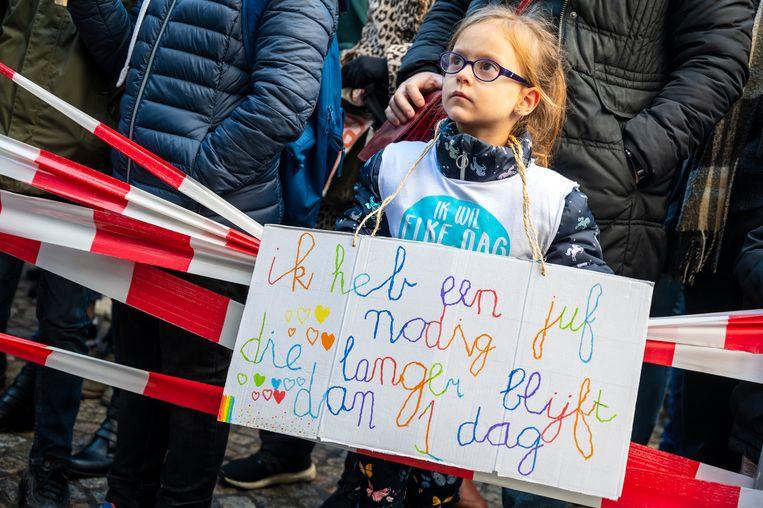 Onderwijsprotest: scholen, ouders en leerlingen verdienen meer dan symptoombestrijding. Beeld ANP