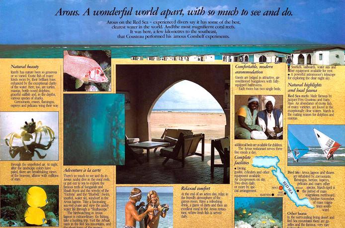 Folder van het duikresort Arous in Soedan wat werd gerund door de Israelische geheime dienst de Mossad
