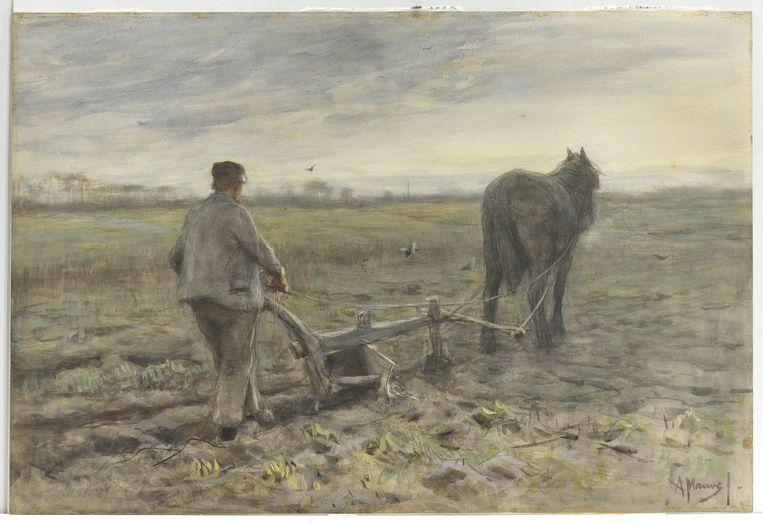 Anton Mauve, Aan de ploeg, circa 1880, waterverf op papier, Singer Laren, legaat Ralph J.A. de Jong-Mellon. Beeld Singer Laren