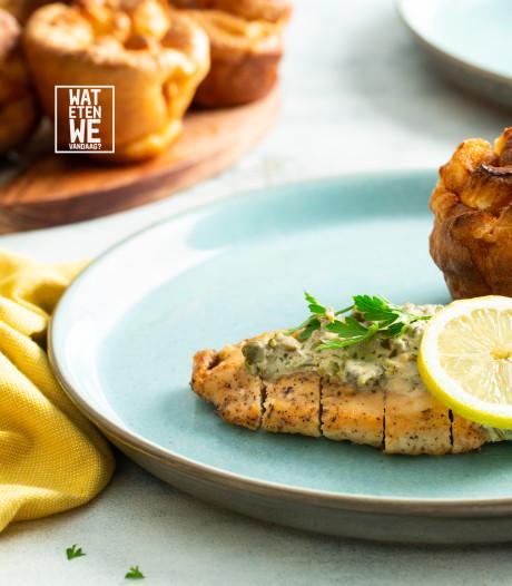 Wat Eten We Vandaag: Kip met yorkshirepuddings en romige saus