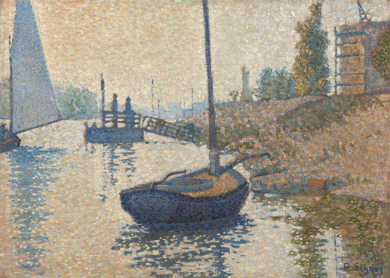 Het Van Gogh Museum koopt een neo-impressionistisch schilderij van Paul Signac: het 'Ponton de la Félicité' bij Asnières  Beeld rv
