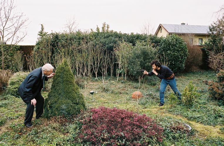 Henk van der Linden wordt onder vuur genomen door de auteur. Beeld RV - Maarten van Riel