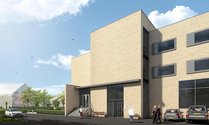 Een schets van het nieuwe gebouw