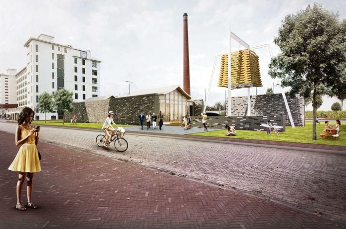 Het ontwerp van het Chinees Nanjing Paviljoen dat op Strijp-S gebouwd moet worden tussen de Torenallee en de Philitelaan.