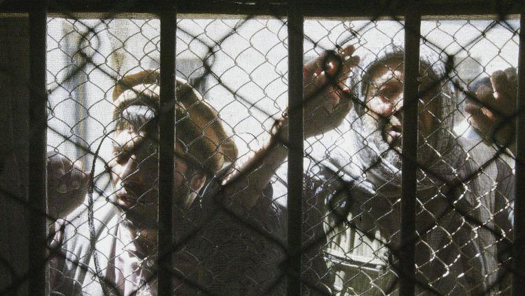 Afghaanse gevangenen in Kabul. Beeld ap
