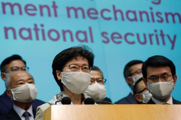 Carrie Lam geeft een persconferentie na de openingsbijeenkomst van het Nationale Volkscongres in Beijing
