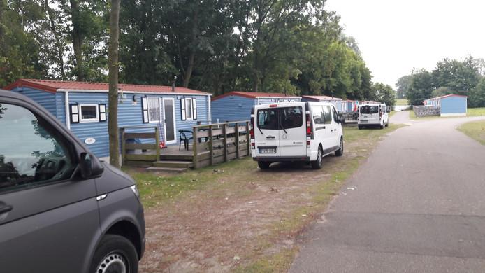 Veel busjes met buitenlandse kentekenplaten op vakantiepark Marina Beach bij Hoek.