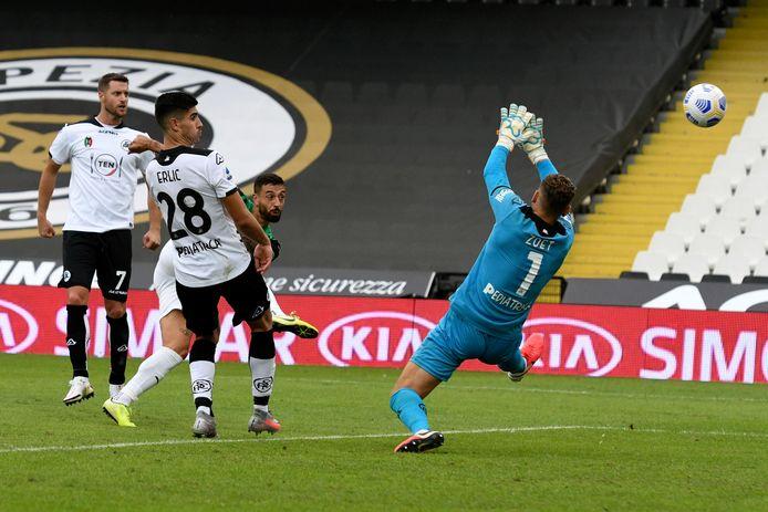 Jeroen Zoet keepte pas zijn tweede officiële duel voor Spezia.