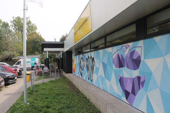 Op de vernieuwde voorgevel van Dilkom werd een kunstwerk van graffitikunstenaar Massi geplaatst.