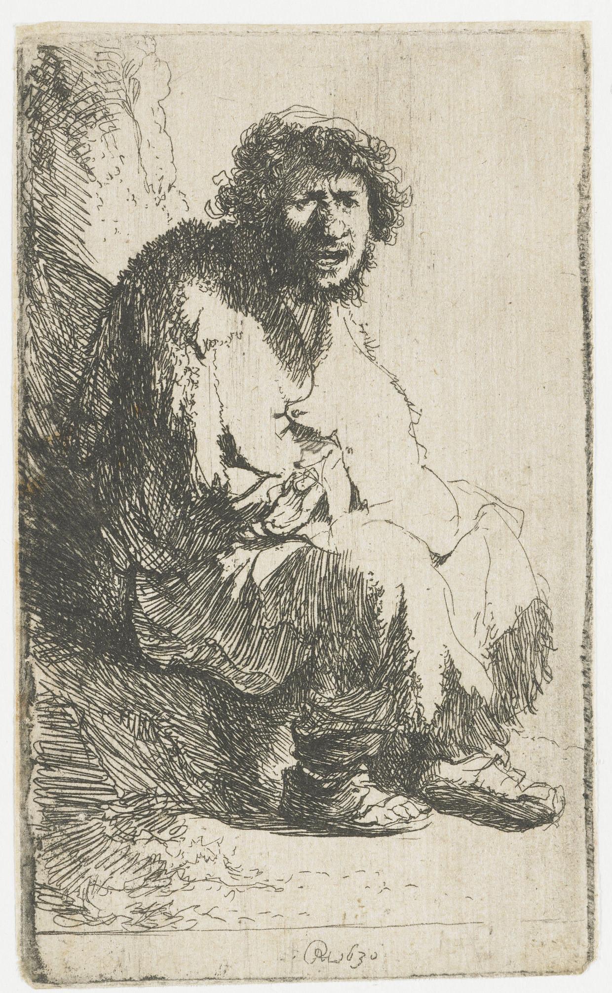 De ets 'Bedelaar, zittend tegen een heuveltje', 1630.