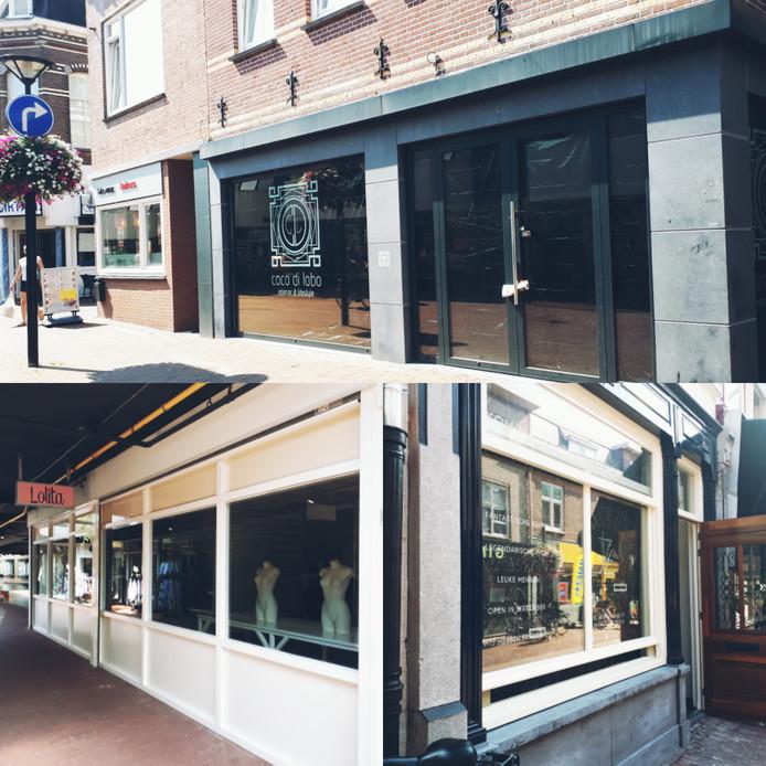 Nieuwe zaken op komst: boven Coco di Lobo (Molenstraat), linksonder Lolita (Galerij) en rechtsonder Zeven (Kerkstraat).