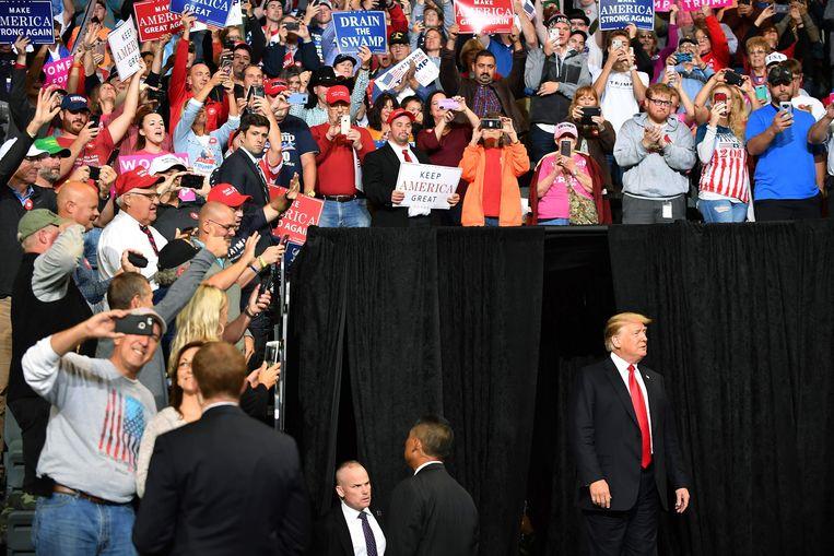 De Amerikaanse president Donald Trump bij een bijeenkomst in Iowa, 9 oktober 2018.
