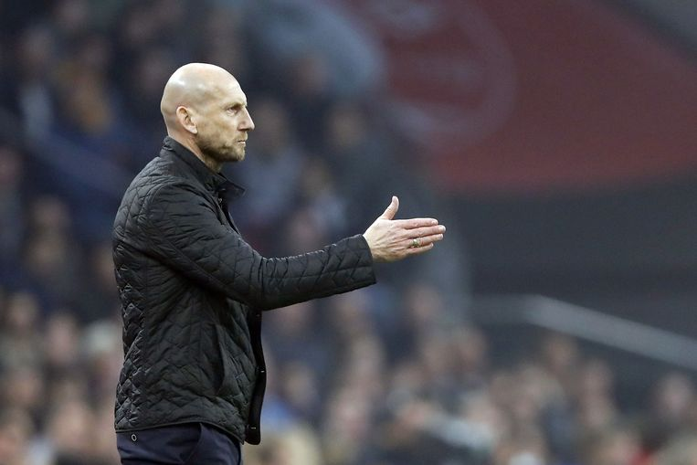 Feyenoord-coach Jaap Stam tijdens de wedstrijd tegen Ajax in de Arena, eind oktober 2019.   Beeld ANP