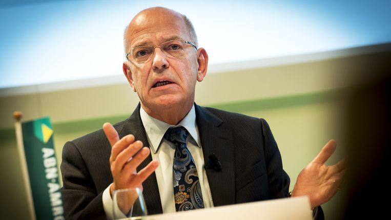 Gerrit Zalm, voorzitter van de Raad van Bestuur, tijdens de presentatie van de jaarcijfers 2014 van de ABN AMRO bank. Beeld anp