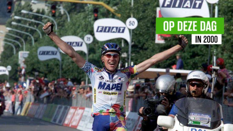 Axel Merckx reed in 2000 in Prato als eerste over de streep.