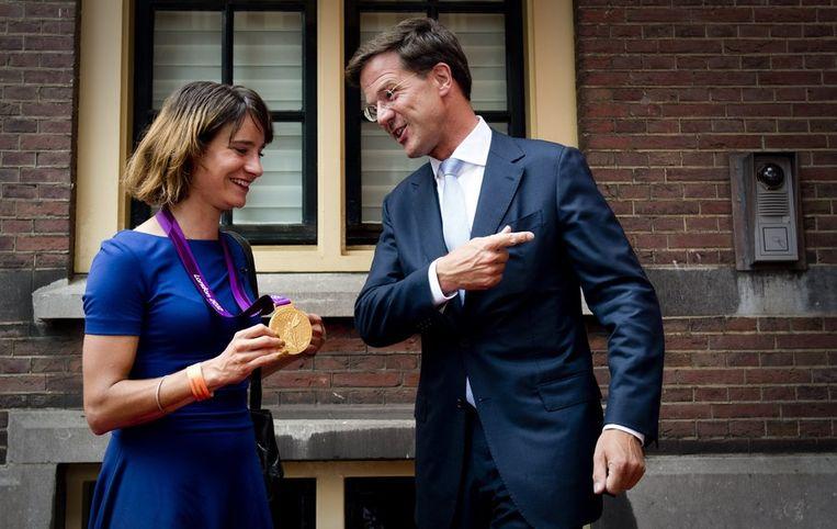 Marianne Vos en Mark Rutte. Beeld anp