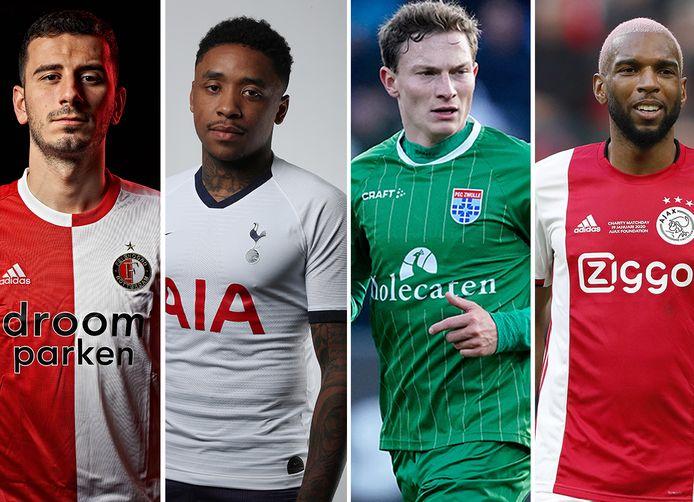 Vlnr: Oguzhan Özyakup (Feyenoord), Steven Bergwijn (Tottenham Hotspur), Rico Strieder (PEC Zwolle) en Ryan Babel.