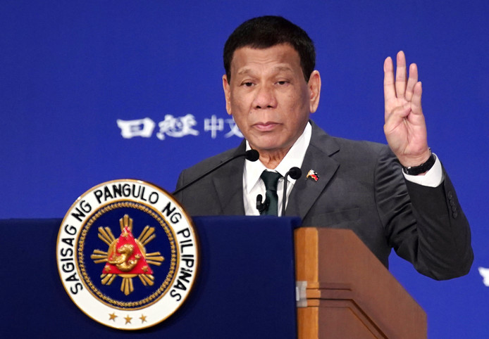 """Philippine President Rodrigo Duterte delivers a speech at the special session of the International Conference on """"The Future of Asia"""" Friday, May 31, 2019, in Tokyo. (AP Photo/Eugene Hoshiko)"""