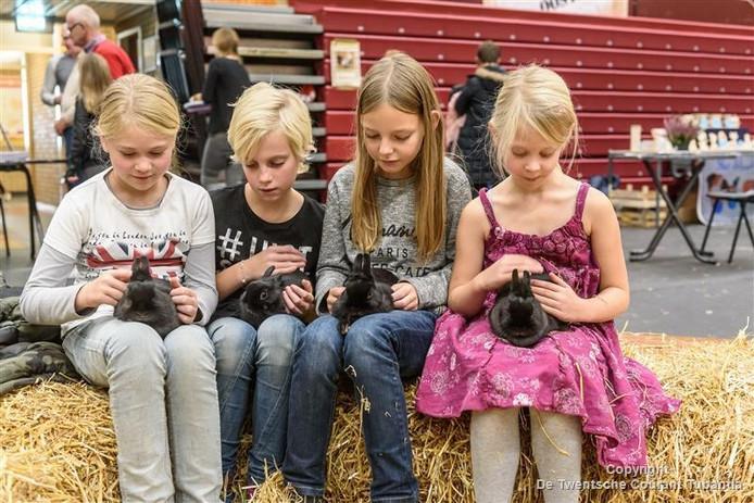Kinderen genieten in de knuffelhoek op de Reggeshow in Rijssen.