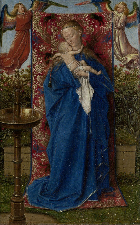 Jan van Eyck, Madonna bij de fontein, 1439. Beeld koninklijk museum voor schone kunsten antwerpen