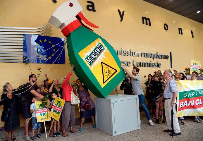 Betogers tegen glyfosaat in Brussel op 19 juli 2017.