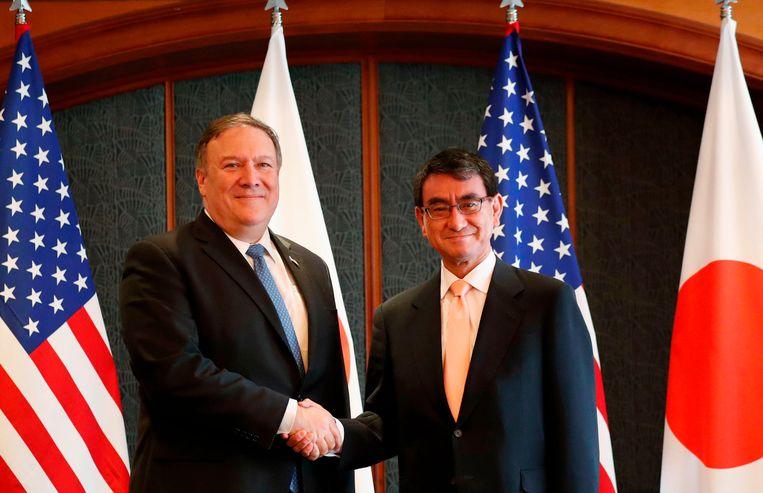 Mike Pompeo met de Japanse Buitenlandminister Taro Kono.