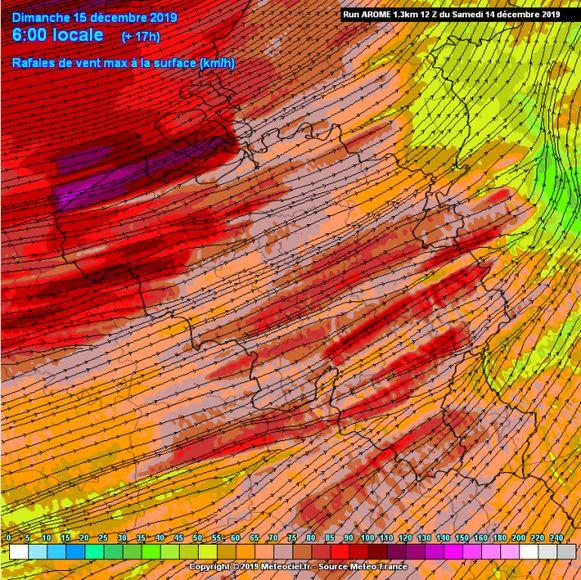 Windstoten vanochtend konden pieken tot 100 km/u, lokaal iets meer.