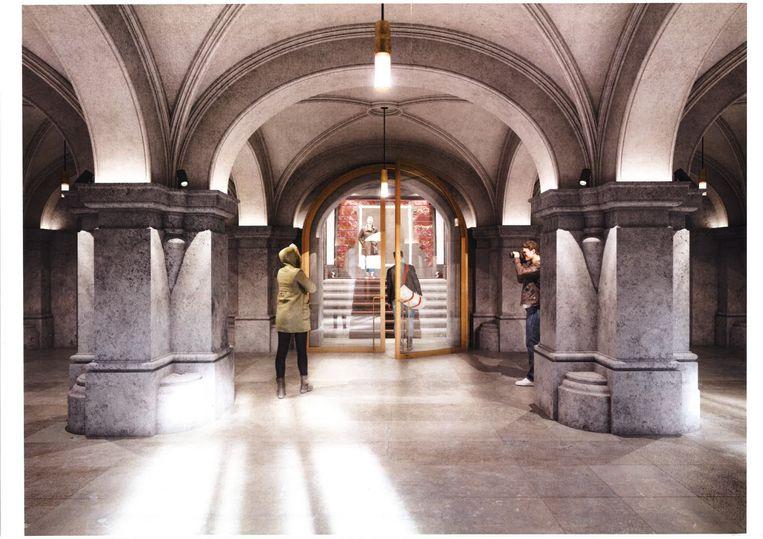 Een impressie van de toekomstige centrale inkom van het stadhuis.