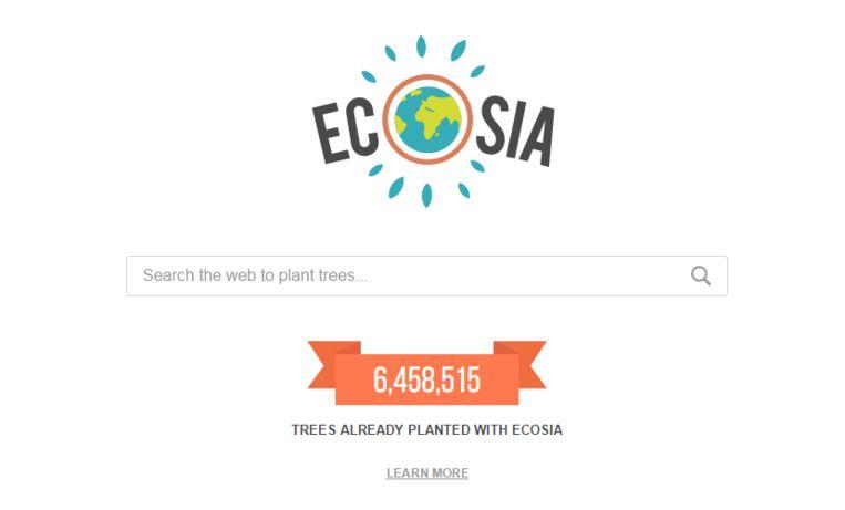Zoekmachine Ecosia. Per zoekopdracht zie je het aantal bomen stijgen.
