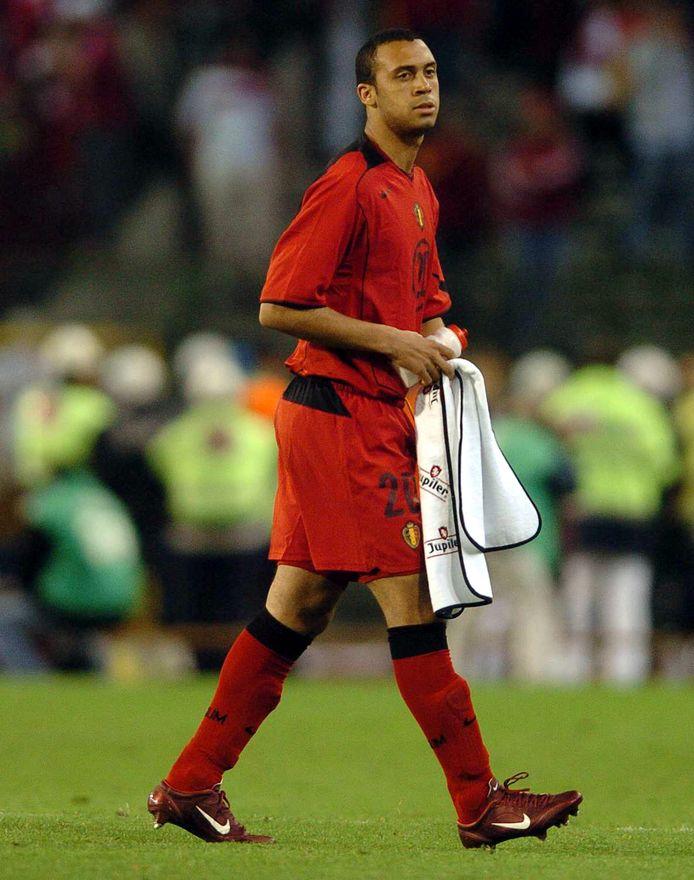 Anthony Vanden Borre bij z'n debuut voor de Rode Duivels.