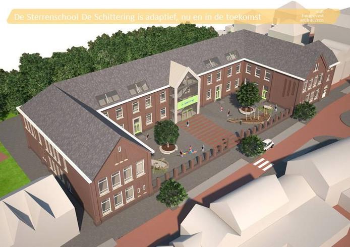 De toekomstige aanblik van basisschool De Schittering.