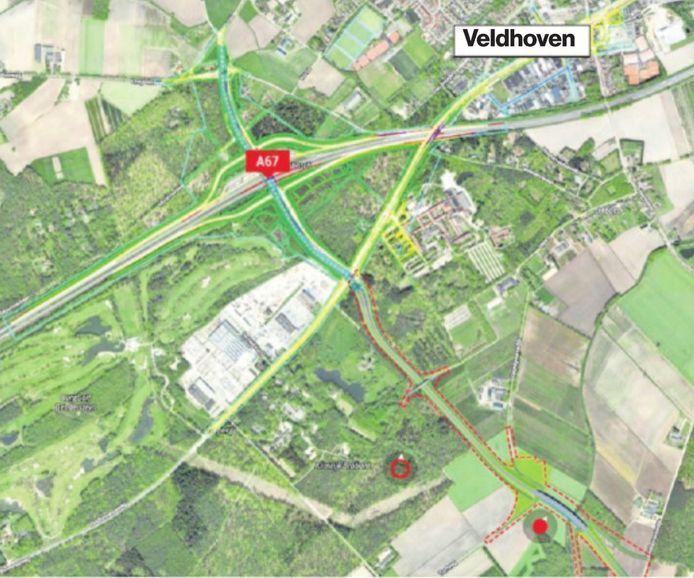 De plannen van de aansluiting van de nieuw aan te leggen Westparallel op de A67 en de Kempenbaan in Veldhoven van bovenaf gezien.
