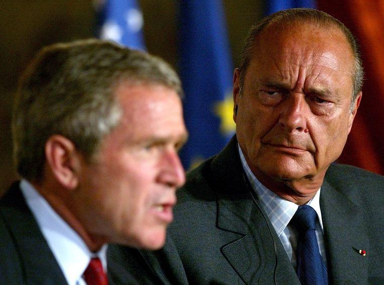 Jacques Chirac met President George W. Bush.
