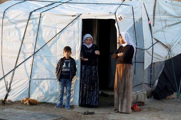 Yezidi's in een vluchtelingenkamp in Sinjar, in het Koerdische deel van Irak.