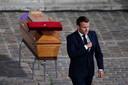 President Emmanuel Macron na zijn nationale eerbetoon aan Samuel Paty op de Sorbonne.