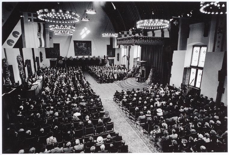 Den Haag, 17 september 1991: koningin Beatrix leest de Troonrede voor in de Ridderzaal. Beeld Werry Crone