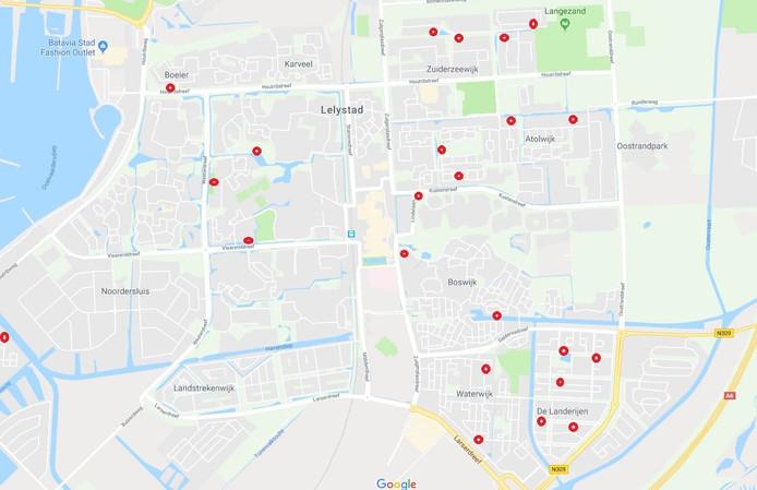 De locaties in Lelystad waar Stichting Dierennoodhulp Flevoland lege zwanennesten aantrof.