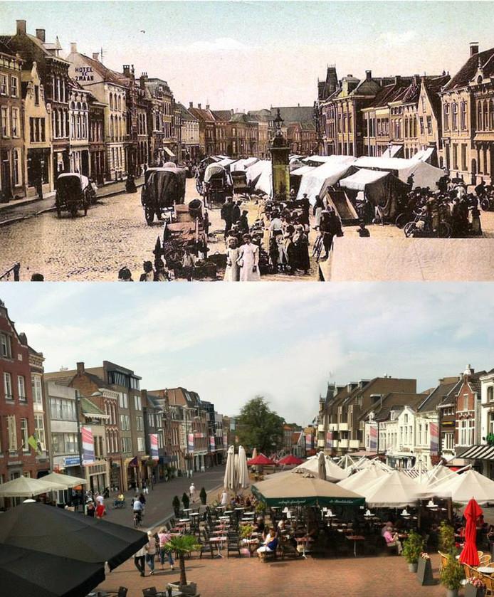 Uitzichts, nu en honderd jaar geleden, op de Markt vanaf de trappen van raadhuis open  op Monumentendag 2018.
