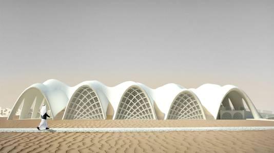 Animatiemodel van een gebouwontwerp gemaakt van zeezout.