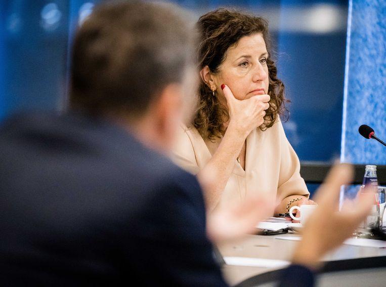 Minister Ingrid van Engelshoven van Onderwijs, Cultuur en Wetenschappen (D66) tijdens een debat over hoger onderwijs. Beeld ANP/Bart Maat