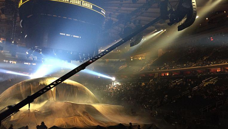 Setting waar Kanye West zal zijn Yeezy-collectie toonde, op het Madison Square Garden tijdens de Fashion Week. Beeld null