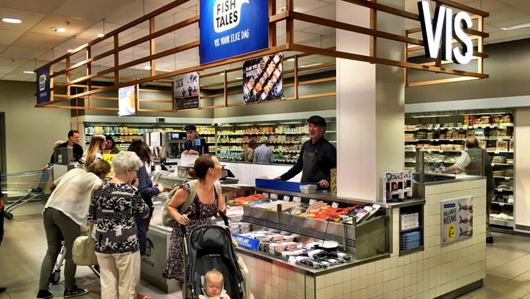 De eerste shop-in-shop van Fish Tales zit in de Albert Heijn op Gelderlandplein. Beeld Fish Tales